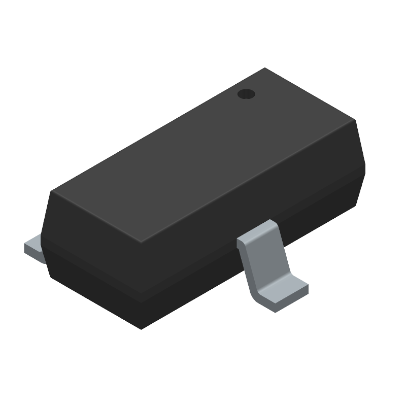 Nexperia PESD1CAN-UX (SOT23 (3-Pin)) 3D model isometric projection.