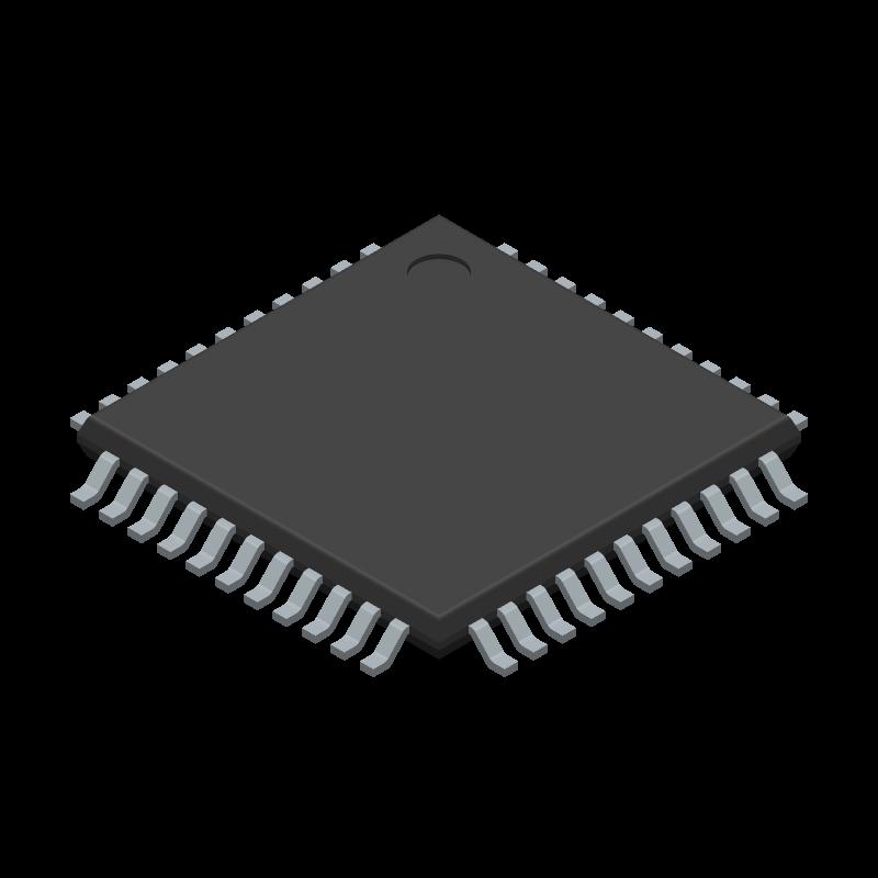 PIC18F47K42-I/PT - Microchip - 3D model - Quad Flat Packages - (PT)44-Lead(TQFP)