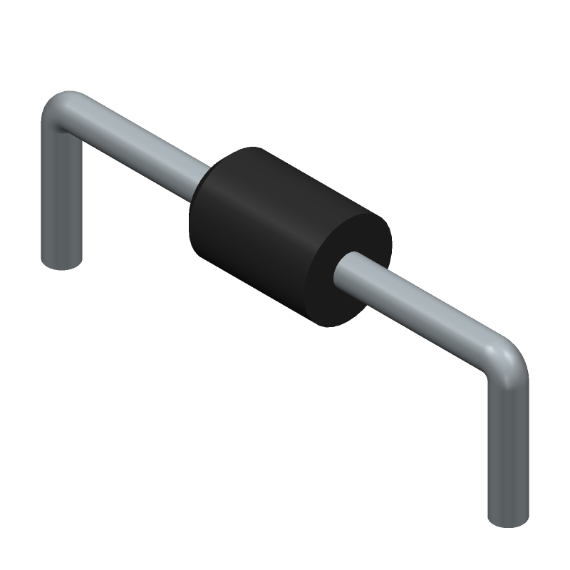 Vishay 1N4729A-TAP (Diodes, Axial Diameter Horizontal Mounting) 3D model isometric projection.