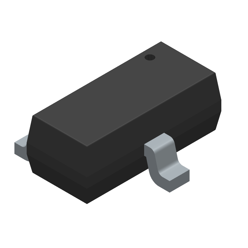Rectron BC847-T (SOT23 (3-Pin)) 3D model isometric projection.