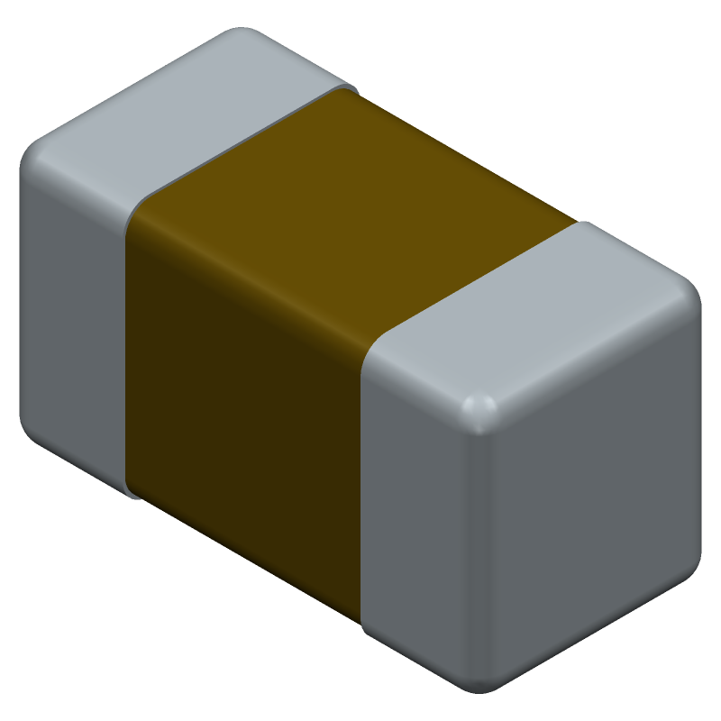 AVX 02013A0R5CAT2A (Capacitor Chip Non-polarised) 3D model isometric projection.