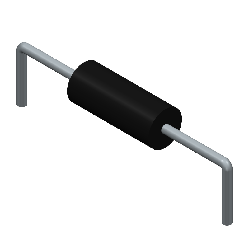 YAGEO (PHYCOMP) CFR-25JB-52-1K2 (Resistors, Axial Diameter Horizontal Mounting) 3D model isometric projection.