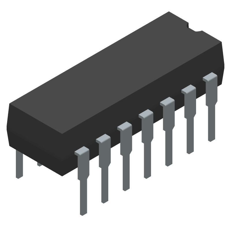 International Rectifier IR2110 (Dual-In-Line Packages) 3D model isometric projection.