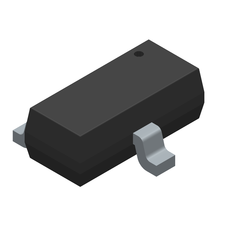 Diodes Inc. FMMT634QTA (SOT23 (3-Pin)) 3D model isometric projection.