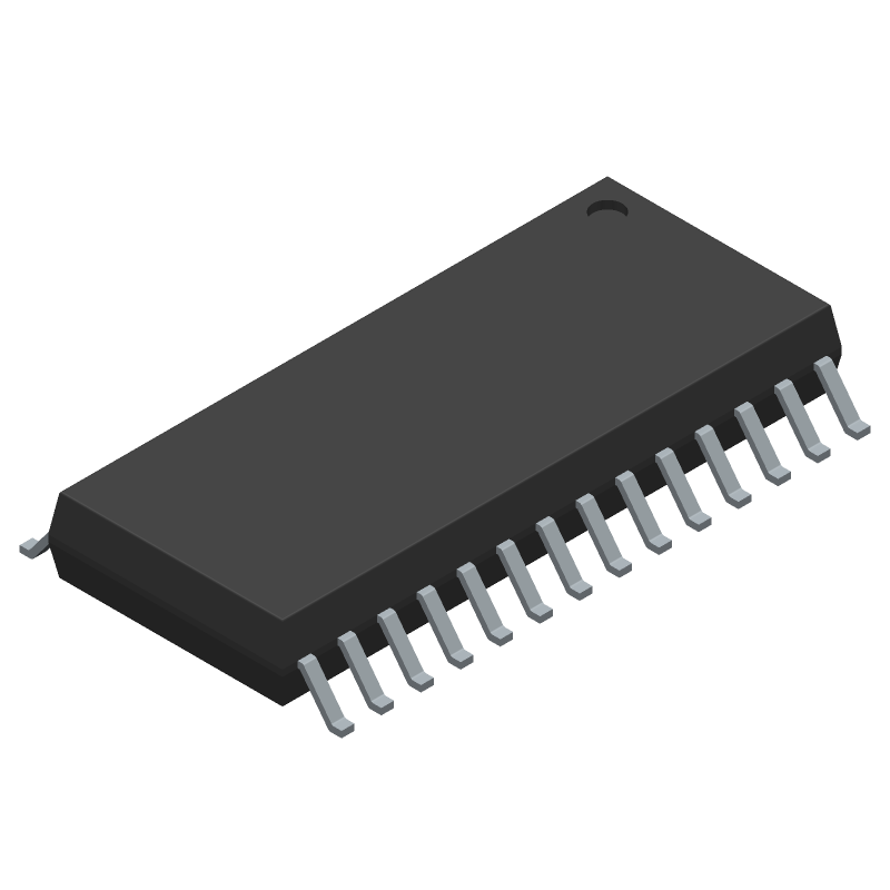 Microchip MCP23017-E/SO (Small Outline Packages) 3D model isometric projection.
