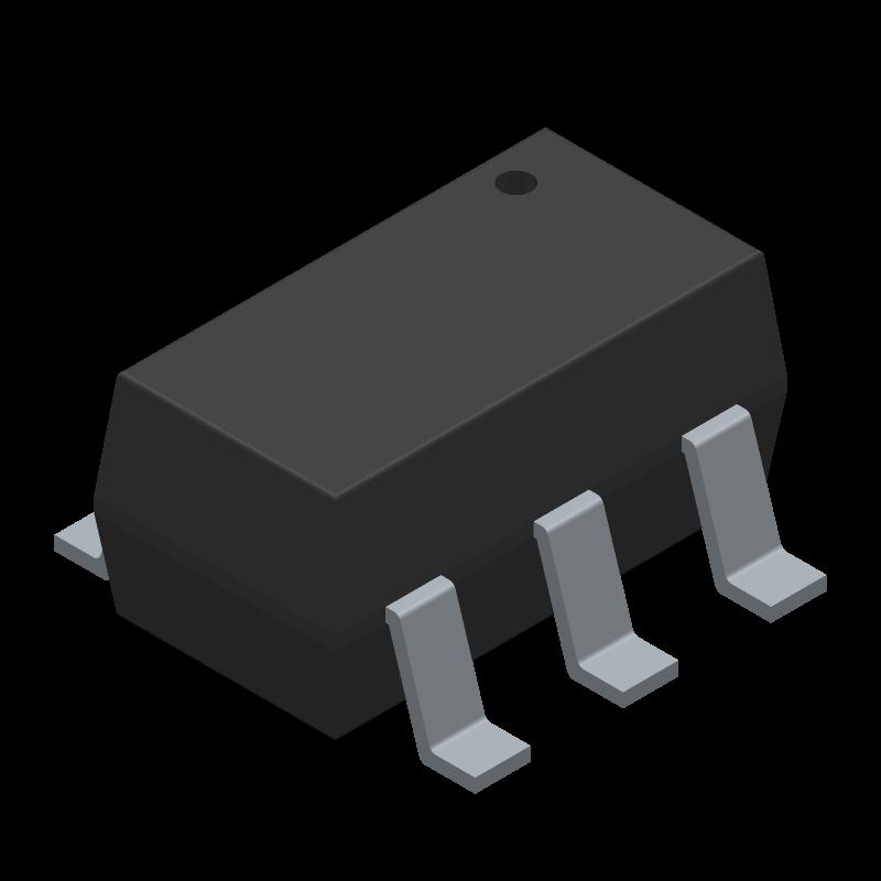 PIC10F202T-I/OT - Microchip - 3D model - SOT23 (6-Pin) - 6-Lead (OT) SOT-23