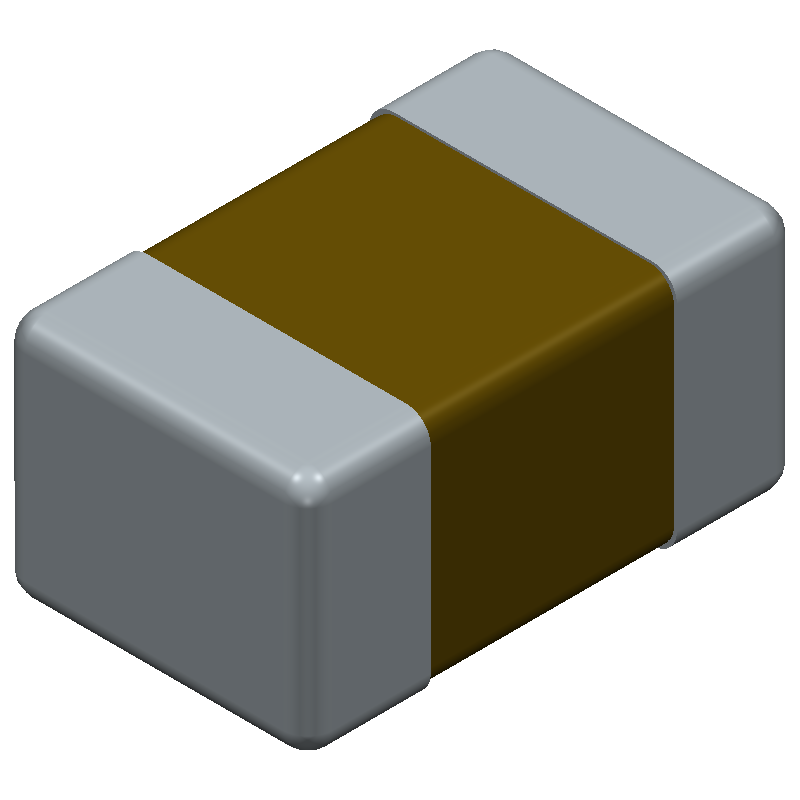 Kemet C0805T105K4RACTU (Capacitor Chip Non-polarised) 3D model isometric projection.