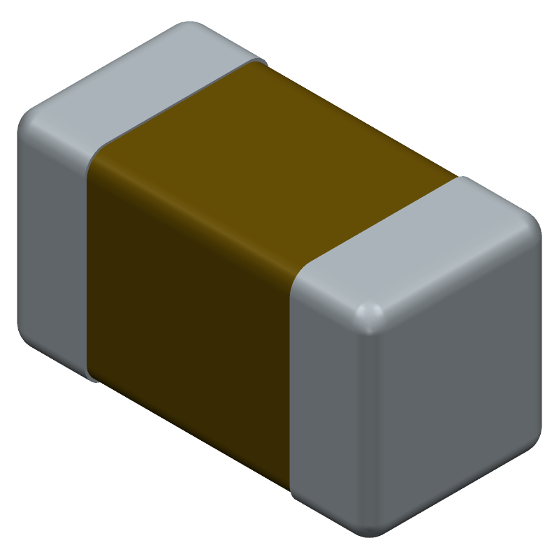 AVX 06033G104ZAT2A (Capacitor Chip Non-polarised) 3D model isometric projection.