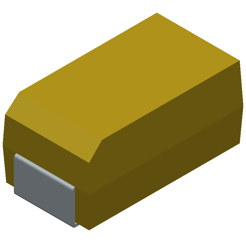 AVX TAJC106K025RNJ (Capacitor Moulded Polarised) 3D model isometric projection.