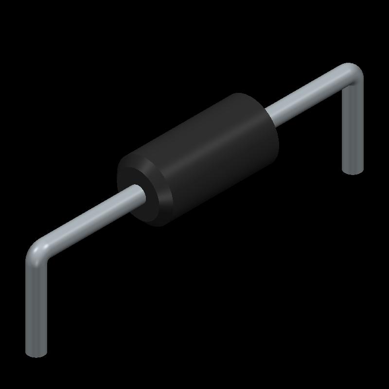 1N4148TA - Fairchild Semiconductor - 3D model - Diodes, Axial Diameter Horizontal Mounting - DO-35