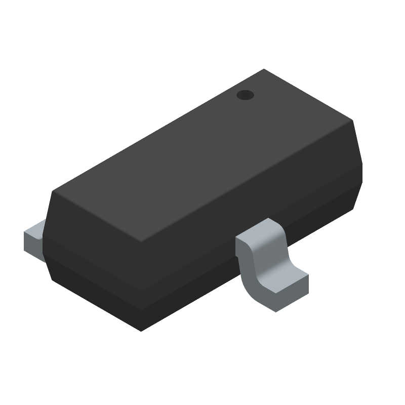 ON Semiconductor FDV301N (SOT23 (3-Pin)) 3D model isometric projection.