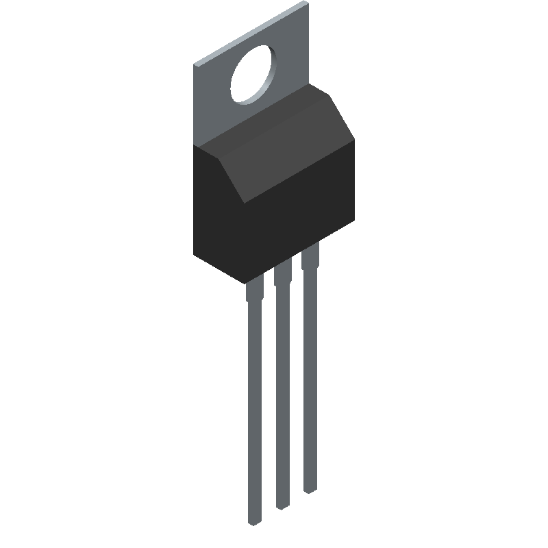 Fairchild Semiconductor LM350T (Transistor Outline, Vertical) 3D model isometric projection.
