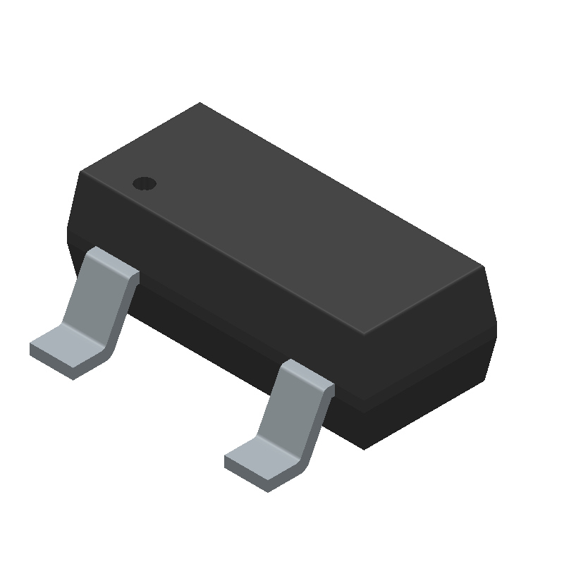 Infineon BC847C (SOT23 (3-Pin)) 3D model isometric projection.