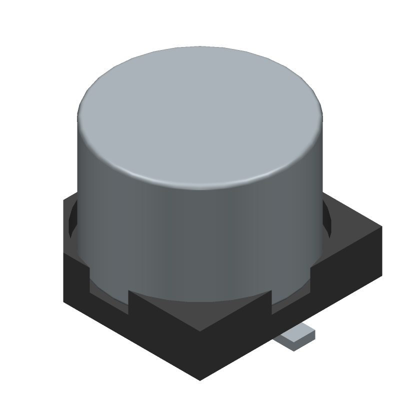 Nichicon UWT1C101MCL1GB (Capacitor Al Electrolytic) 3D model isometric projection.