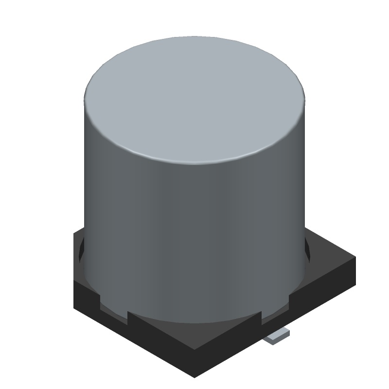 Nichicon UWT1E471MNL1GS (Capacitor Al Electrolytic) 3D model isometric projection.