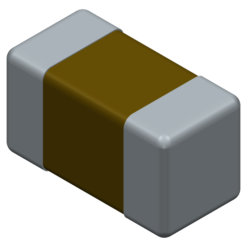 Murata Electronics GRM155R71C104KA88D (Capacitor Chip Non-polarised) 3D model isometric projection.