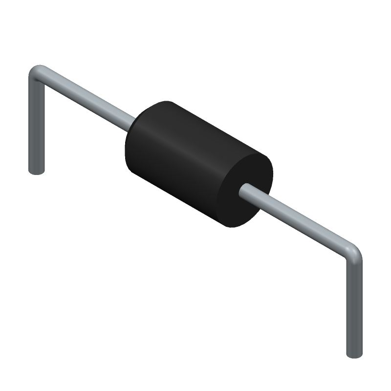 1.5KE100A - STMicroelectronics - 3D model - Diodes, Axial Diameter Horizontal Mounting - DO-201