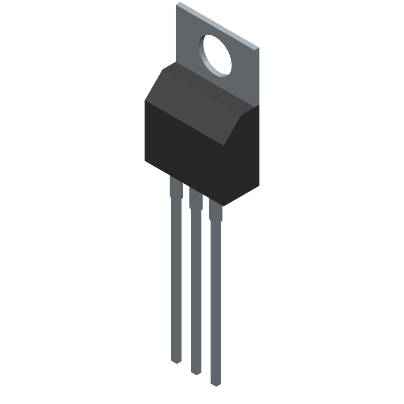 STMicroelectronics L7805ACV (Transistor Outline, Vertical) 3D model isometric projection.