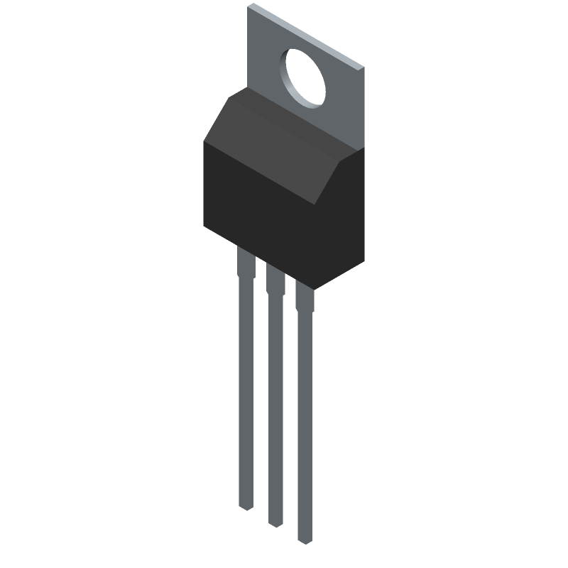 STMicroelectronics L7812CV (Transistor Outline, Vertical) 3D model isometric projection.