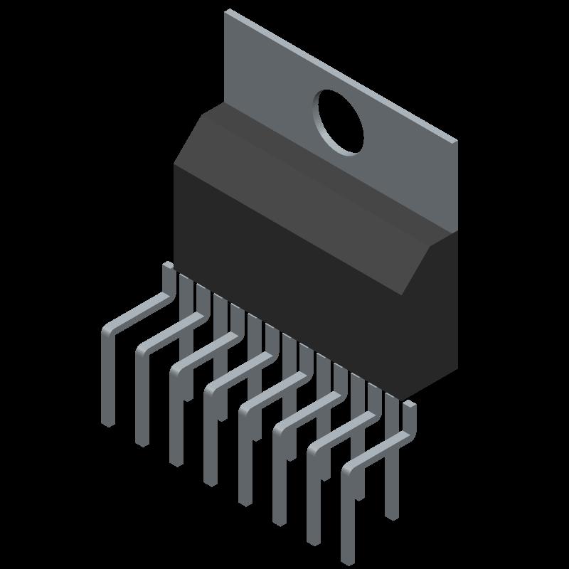 TDA7293V - STMicroelectronics - 3D model - Transistor Outline, Vertical - Multiwatt15V