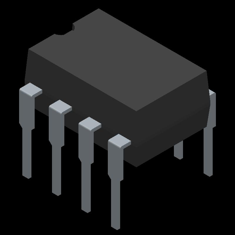 NE555P - Texas Instruments - 3D model - Dual-In-Line Packages - P (R-PDIP-T8)