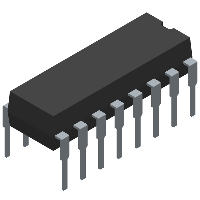 TL494CN - Texas Instruments - 3D model - Dual-In-Line Packages - PDIP 16pin
