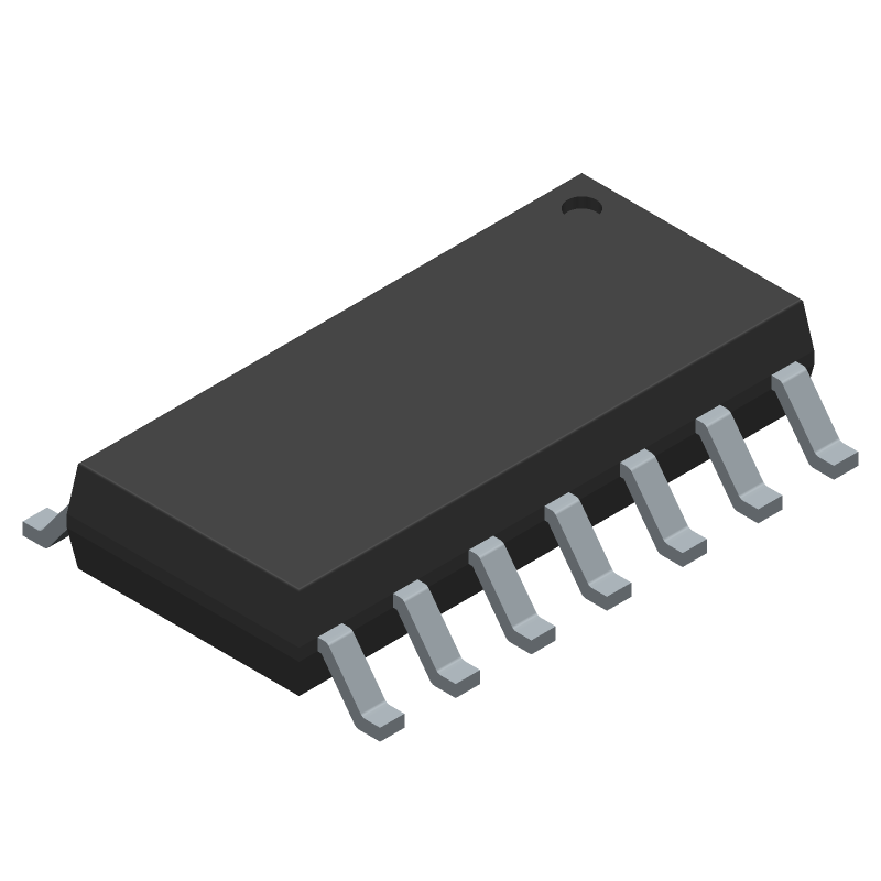 Texas Instruments SN74HC04D (Small Outline Packages) 3D model isometric projection.