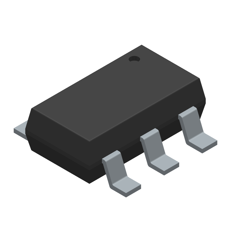 Diodes Inc. AP63203WU-7 (SOT23 (6-Pin)) 3D model isometric projection.