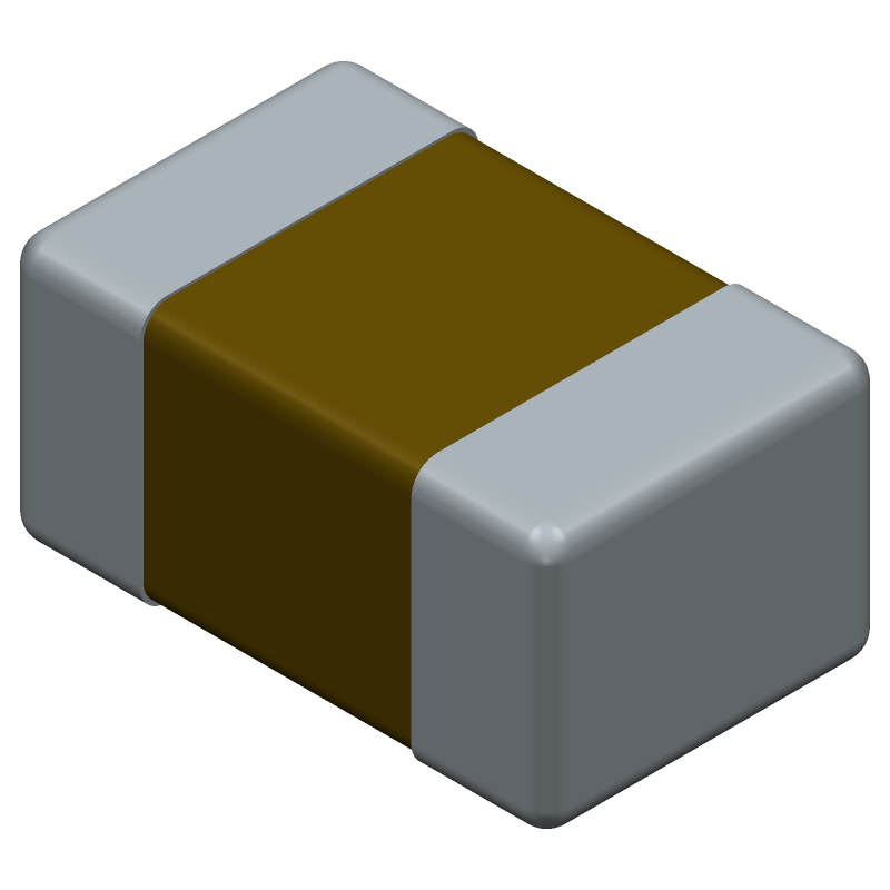 Kemet C0805X104K4RACAUTO (Capacitor Chip Non-polarised) 3D model isometric projection.