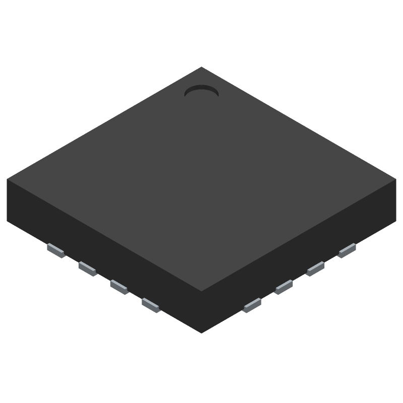 FTDI Chip FT230XQ (Quad Flat No-Lead) 3D model isometric projection.