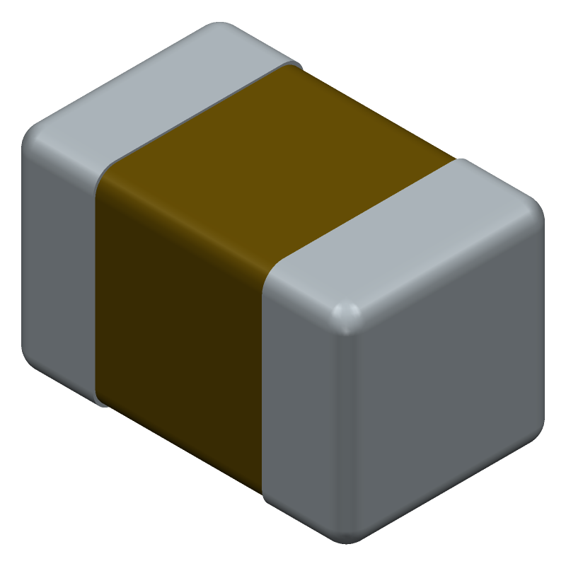Kemet C0805C475K3RACAUTO (Capacitor Chip Non-polarised) 3D model isometric projection.