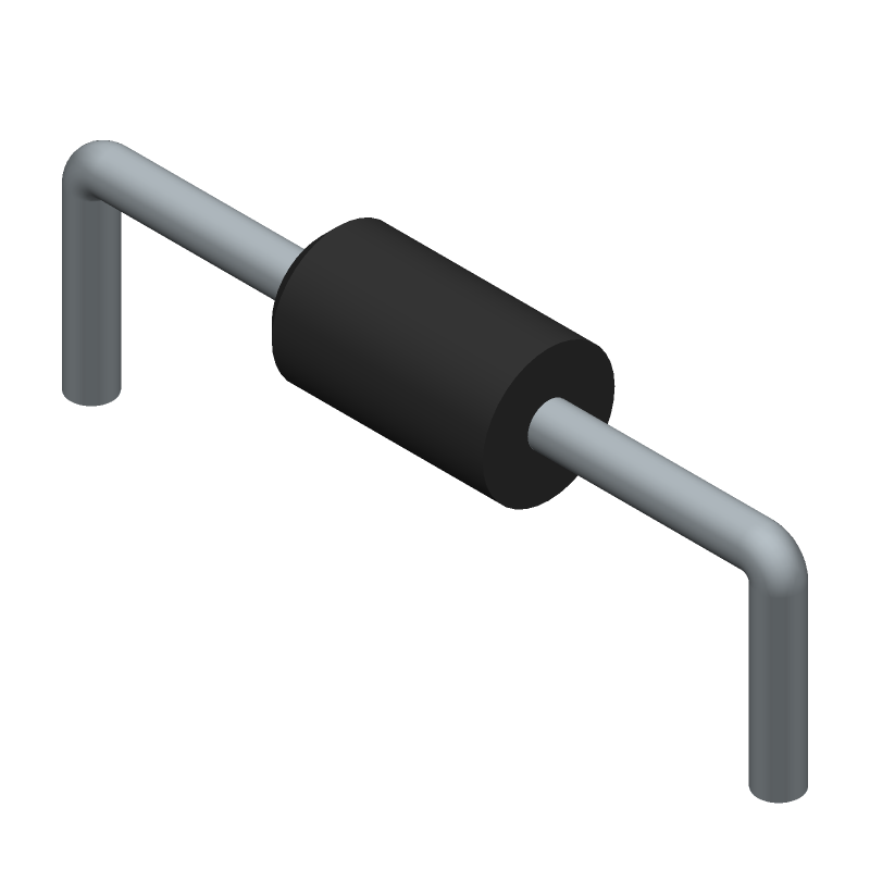 ON Semiconductor 1N4007 (Diodes, Axial Diameter Horizontal Mounting) 3D model isometric projection.