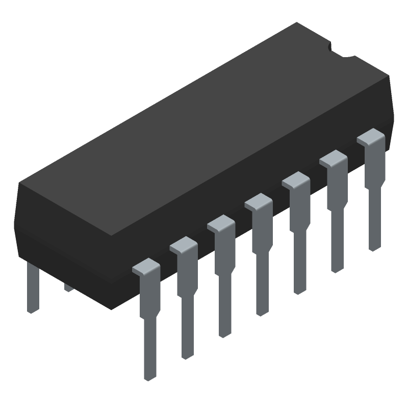 LM324N - ON Semiconductor - 3D model - Dual-In-Line Packages - PDIP−14 CASE 646−06 ISSUE S