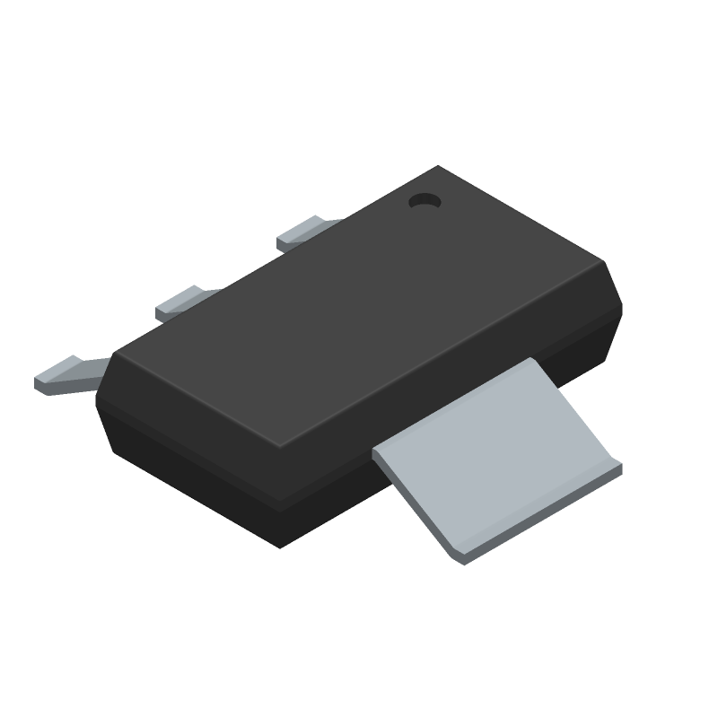 ON Semiconductor NCP1117ST33T3G (SOT223 (3-Pin)) 3D model isometric projection.