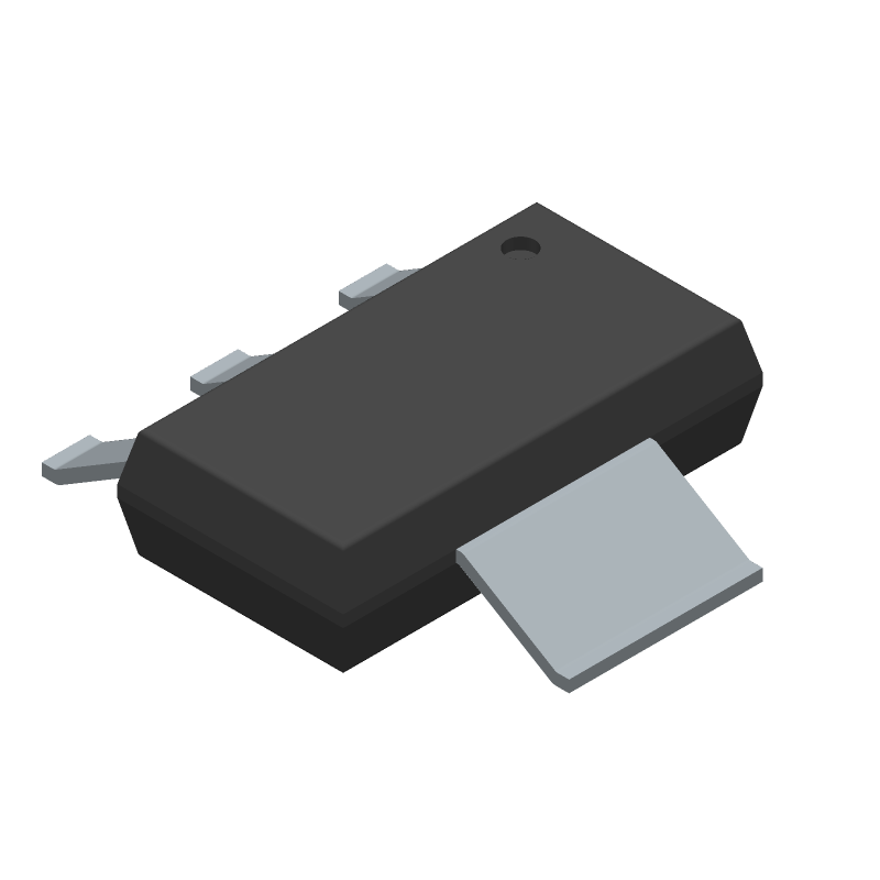 ON Semiconductor NCP1117ST50T3G (SOT223 (3-Pin)) 3D model isometric projection.