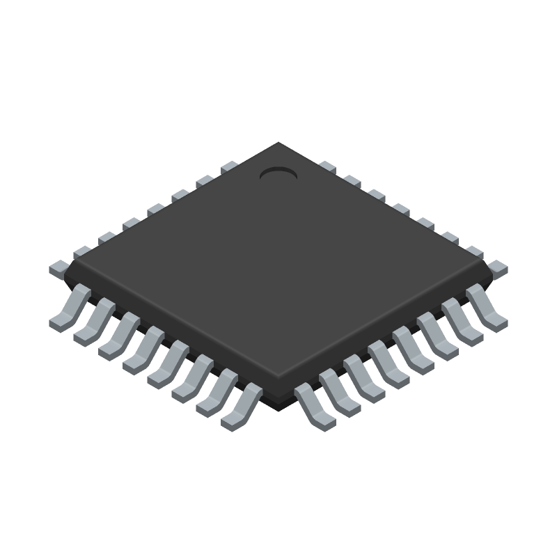 Microchip ATMEGA328P-ANR (Quad Flat Packages) 3D model isometric projection.