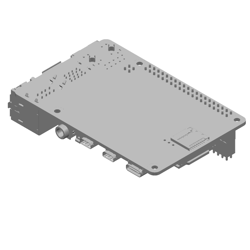 RASPBERRY-PI RASPBERRY PI 4B + Samtec ESP-120-33-G-D (Other) 3D model isometric projection.
