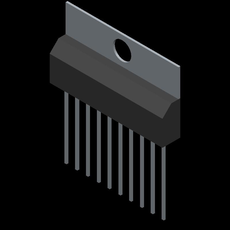 TA7291P(O) - Toshiba - 3D model - Transistor Outline, Vertical - HSIP10−P−2.54