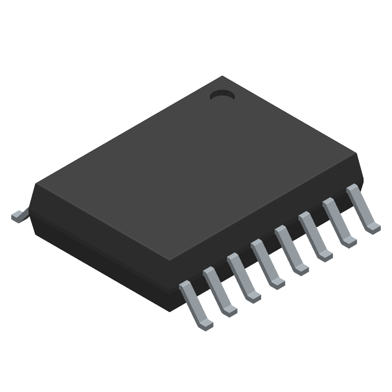 Maxim Integrated DS3231SN# (Small Outline Packages) 3D model isometric projection.