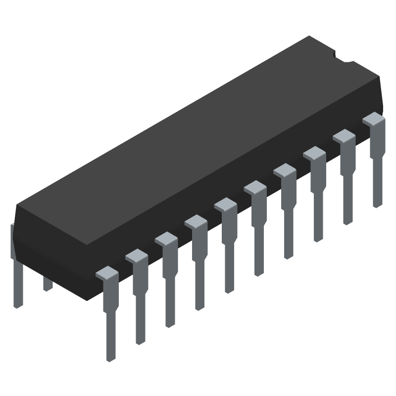 MSP430G2553IN20 - Texas Instruments - 3D model - Dual-In-Line Packages - N (R-PDIP-T20)