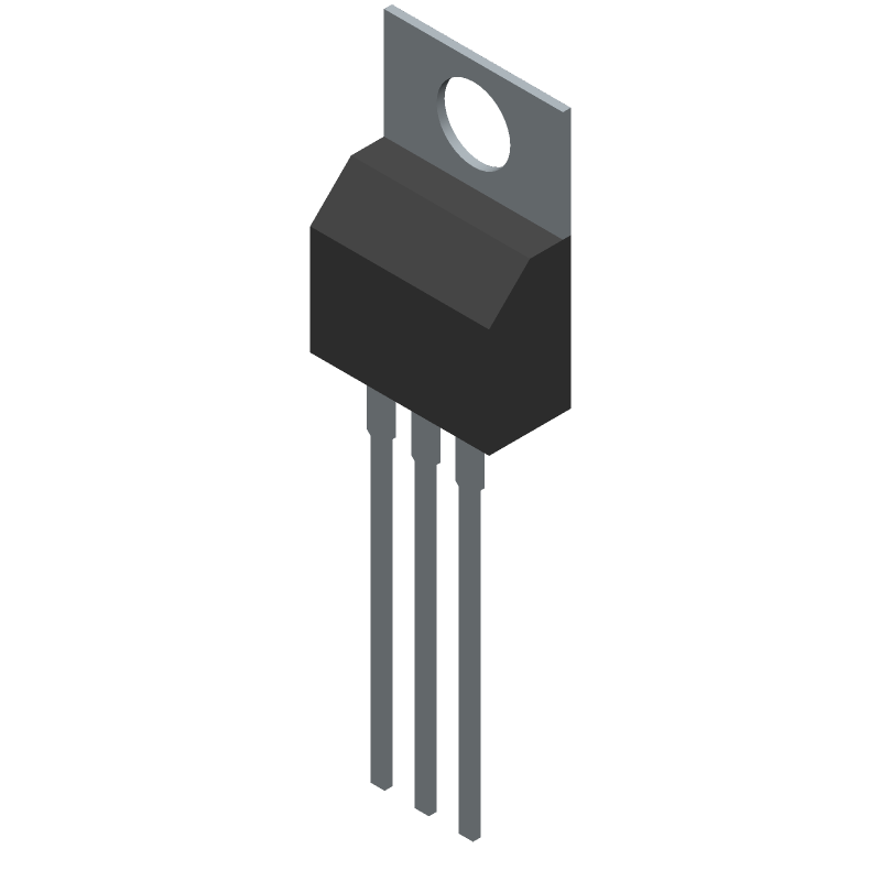 Texas Instruments LM7805CT/NOPB (Transistor Outline, Vertical) 3D model isometric projection.