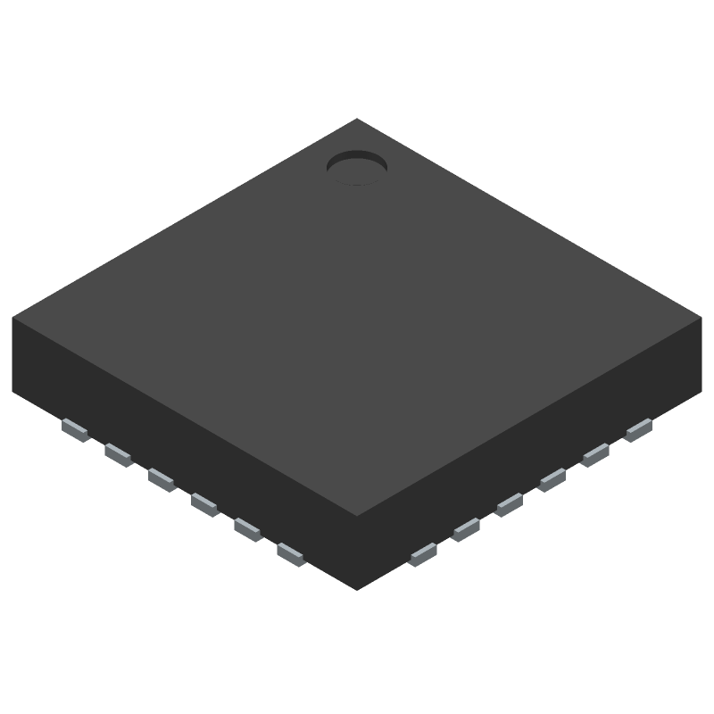 Texas Instruments LM26480SQ-AA/NOPB (Quad Flat No-Lead) 3D model isometric projection.