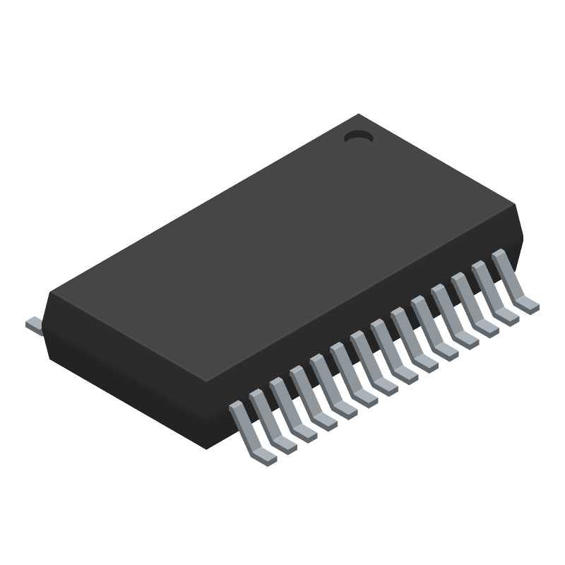 FTDI Chip FT232RL-REEL (Small Outline Packages) 3D model isometric projection.