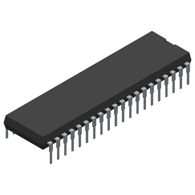 PIC18F46K22-I/P - Microchip - 3D model - Dual-In-Line Packages - 40-Lead Plastic Dual In-Line (P) - 600 mil Body [PDIP]