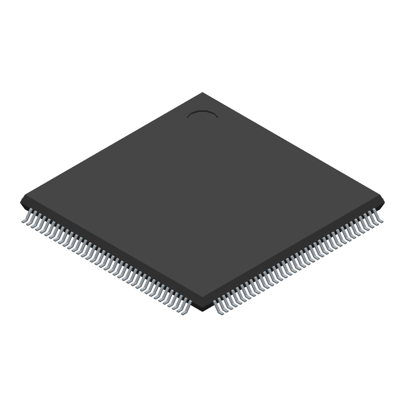Microchip ATSAM3X8EA-AU (Quad Flat Packages) 3D model isometric projection.