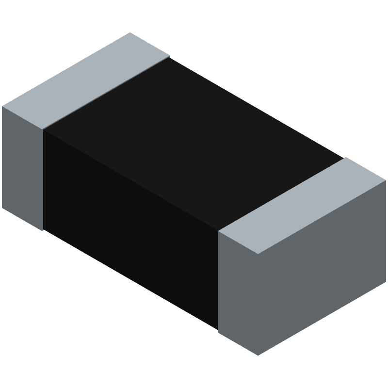 YAGEO (PHYCOMP) RC0603JR-070RL (Resistor Chip) 3D model isometric projection.