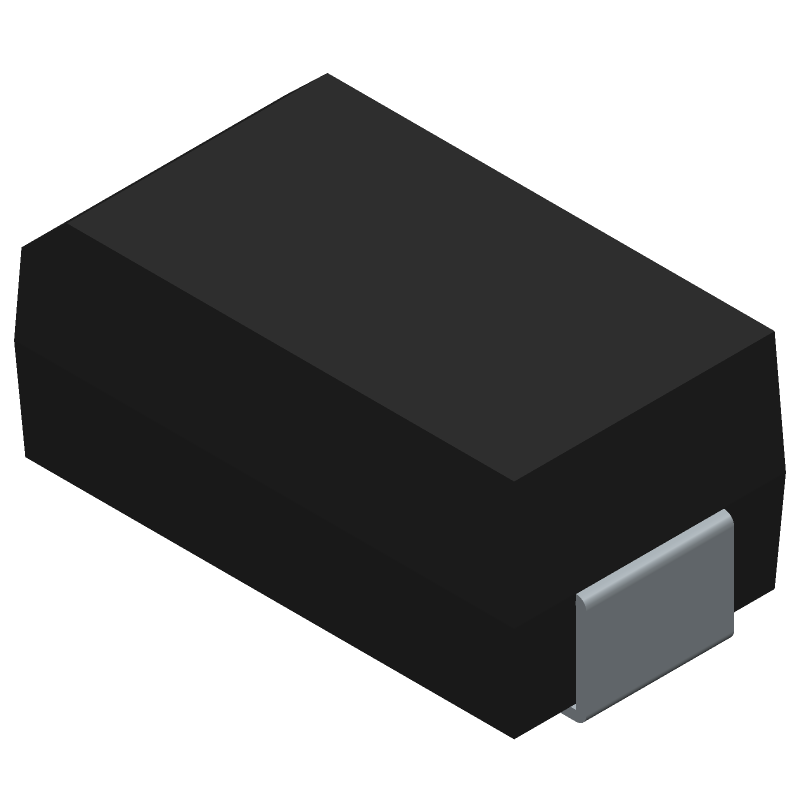 Vishay BYG23T-M3/TR (Diodes Moulded) 3D model isometric projection.