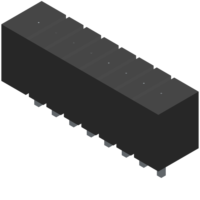B8B-XH-A(LF)(SN) - JST (JAPAN SOLDERLESS TERMINALS) - 3D model - Header, Vertical - THROUGH-HOLE TYPE SHROUDED HEADER