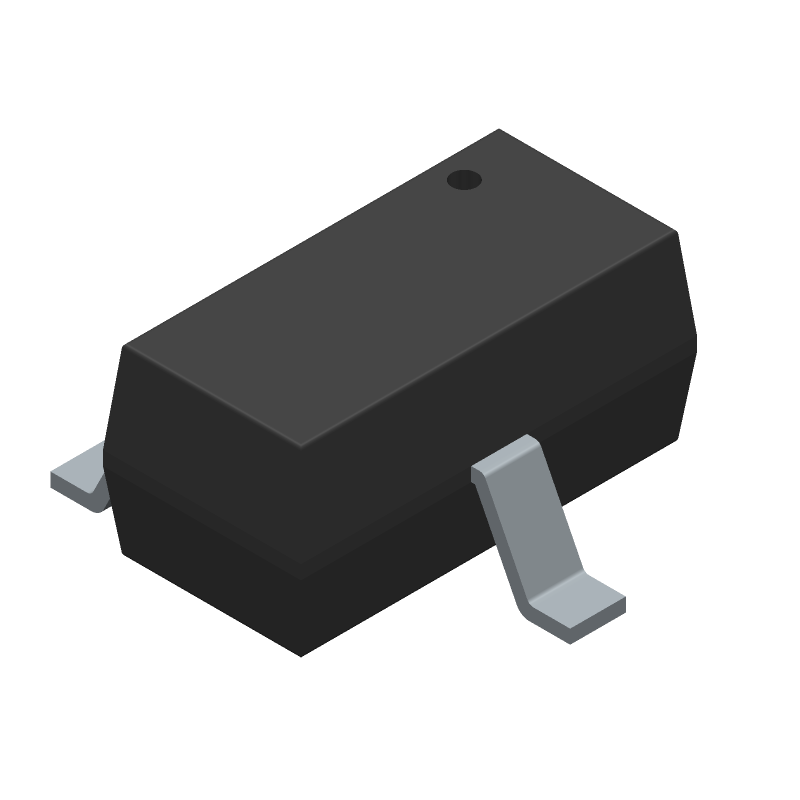 Diodes Inc. DMG1012T-7 (SOT23 (3-Pin)) 3D model isometric projection.