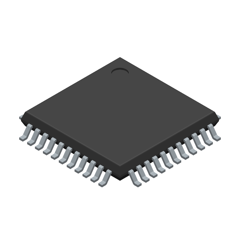 Cypress Semiconductor CY8C4245AXI-483 (Quad Flat Packages) 3D model isometric projection.